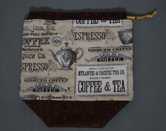 Large drawstring project bag-Coffee and Tea