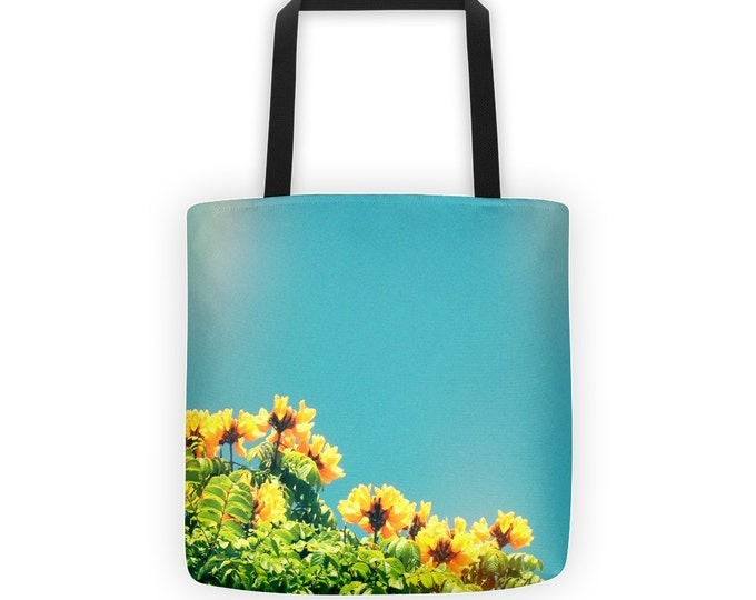Aqua Sky Buttery Yellow Flowers Tote for Eco Shopping and School and Sundry