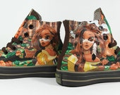 Pocahontas, full painting converse, Annatar original design, custom shoes, shoes painting