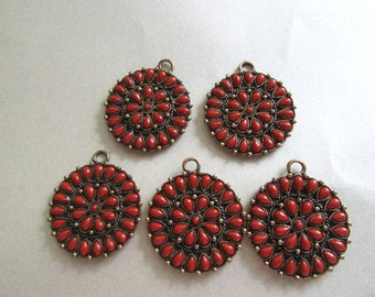 FIVE Boho Dark Rust Lucite Medalions Destash Jewelry Making Pendants for Necklaces Jewelry Parts Mid Eastern Style India Exotic