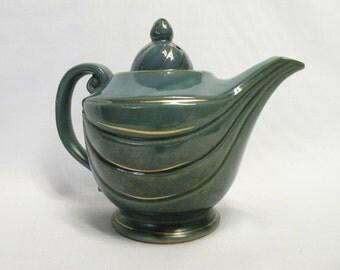 Royal Sealy China Tea Pot - Blue Green with Gold Trim - Vintage Tea Pot - Aladdin Boho Style, Shabby Chic, Cottage, Home Decor