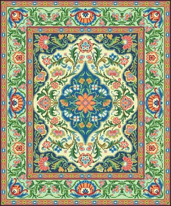 Vintage Floral Rugs: Oriental Vintage Floral Rug 2 Adaptation Counted Cross Stitch