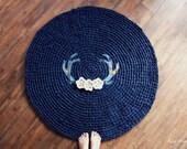 Antler and Floral Round Crochet Rug in Blue Tartan