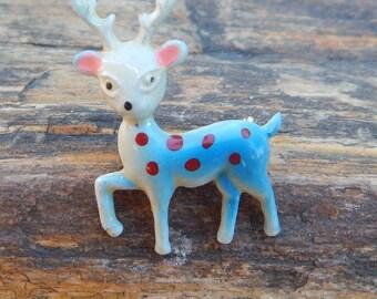 Enameled Metal Reindeer Pin  ~  Reindeer Lapel Pin  ~  Reindeer Hat Pin  ~  Mid Century Reindeer Pin  ~  Vintage Enameled Reindeer Pin