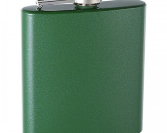 6 ounce Hip Flasks - Select colors - with a Glittery Finish