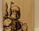 Boba Fett--Infamous Bounty Hunter wood burned plaque