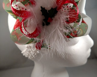 Christmas Holly & Bows Over-The-Top Hair Bow Hairbow