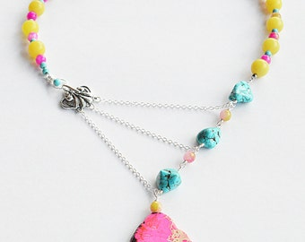Pink, Turquoise & Lemon Adrienne Adelle Signature Necklace - Pink Jasper Slice, Turquoise, Lemon Jade and Sterling Silver Statement Necklace