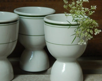 Old Green 3-Stripe Vitreous China Restaurant Ware Double Egg Cups Set of 3