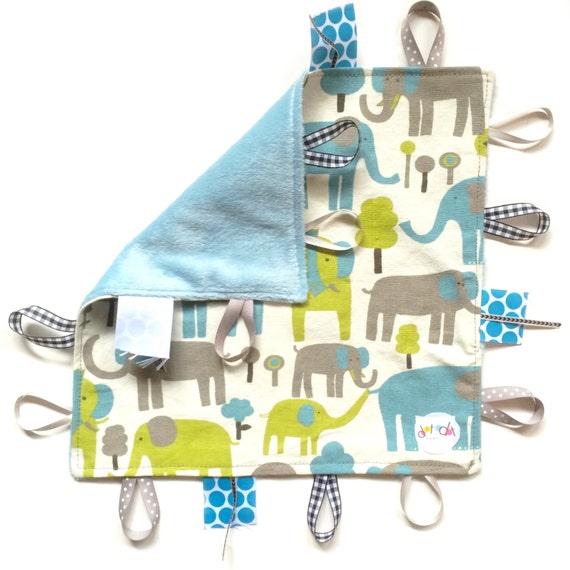Elephant Playtime Baby Boy Tag Lovey Sensory Blanket Toy