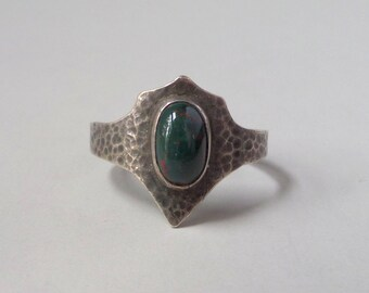 Antique Bloodstone Ring. Arts & Crafts Hammered Shield.