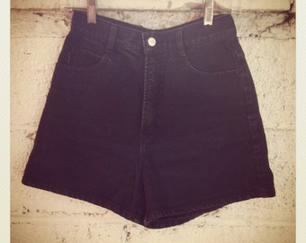 Bongo Black Denim High-Waisted Shorts