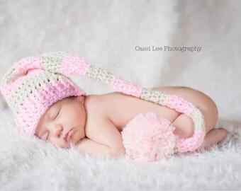 Crochet Baby Girl Elf Hat Girl Boy Photo Prop Made to Order - Sizes Newborn, 0-3 Months, 3-6 Months, 6-12 Months, Infant - Aran & Soft Pink