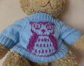 Teddy Bear Sweater - Hand knitted - Blue/Purple Owl design