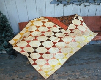 Smoky Mountain Star Quilt, Warm Earth Tone Quilt, Orange Yellow Black Quilt, Quilted Throw