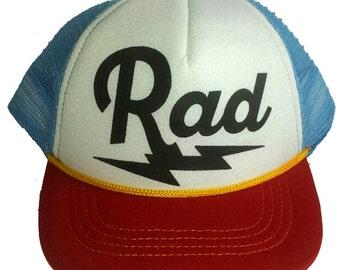 Rad Radical Bolt Red Blue  3-24 months Baby Infant Child Mesh Trucker Hat Cap Snapback