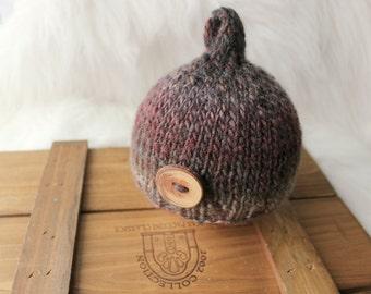 Drop Hat, newborn photography prop-brown dark red knitted baby beanie hat-tie knot night cap-baby photo prop-baby shower gift