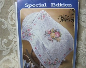 "Bucilla Special Edition Lap Quilt / Wall Hanging ""Rose"" 63346 Vintage"
