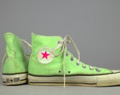 80s Made In The USA Neon Green Chuck Taylor High Top Converse Allstars, 8 mens