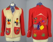 40s Mexican Souvenir Two Tone Hand Embroidered Wool Jacket