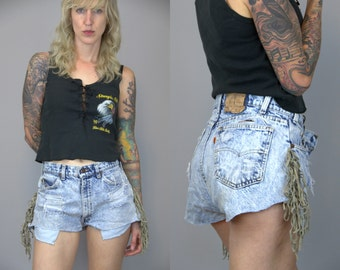 80s Levis Acid Wash Denim Leather Fringe Orange Tag Butt Rock Cut Off Jean Short Booty Shorts W 32