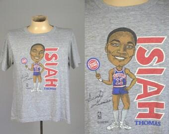 80s Isiah Thomas Detroit Pistons NBA Sportswear Heathered Grey T Shirt XL