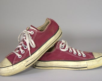 80s Converse Made In USA Burgundy Chuck Taylor Low Top Converse Allstars, 6.5 Womens 4.5 Mens