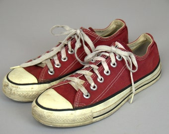 80s Converse Made In USA Red Chuck Taylor Low Top Converse Allstars, 7 Womens 5 mens