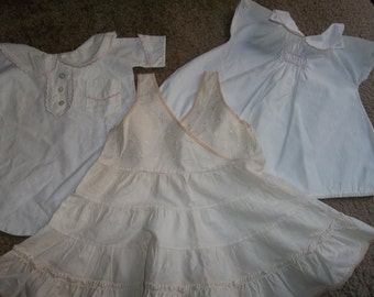 3 Pcs. Lot Antique Baby  Dress, French Slip, Bunting....Good Condition..Dolls Bears