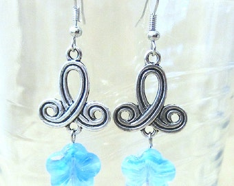 Tribal Twist & Blue Glass Hibiscus Long Earrings, Handmade Original Fashion Jewelry, Island Inspired Tropical, Celtic Knot Ladies Gift Idea