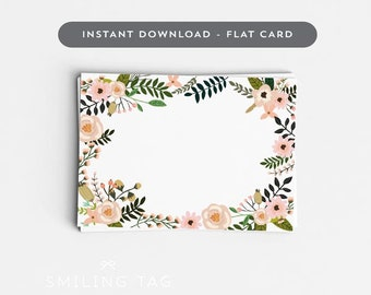 Printable Wedding Place Cards Printable - Spring Wedding Blank Escort Cards - Blank Table Setting Card- Letter and A4 Size (Item code: P806)