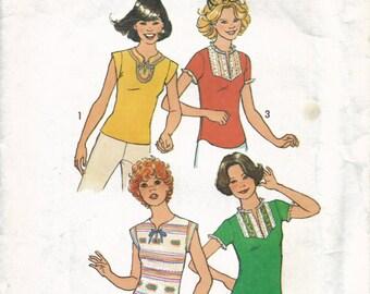 Juniors Summer Top Pattern, Teen Shirt Pattern, 1970s Short Sleeve Shirt Pattern, Boho Style Shirt Pattern, One Yard Tops, Size 9 10 Bust 30