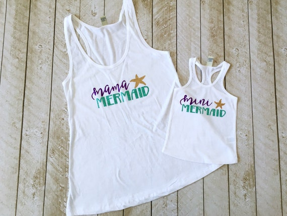 Mama Mermaid Amp Mini Mermaid Tank Set Mommy And Me