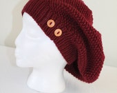 Knit Slouchy Hat - Adult or Teen - Burgundy Red Winter Hat - Christmas in July SALE - 20 % off until July 31st