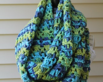 Super Chunky Crochet Cowl - Yellow, Blue and Green Colored Infinity Scarf