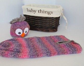 Baby Crochet Cocoon - Baby Swaddle Sack -  Purples and Pinks Cocoon - Owl Cocoon Prop