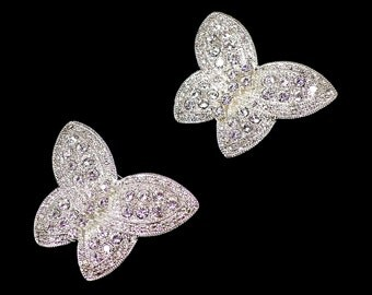 Set of 2 Rhinestone Butterfly Brooches, Silver Butterfly, Bridal Bouquet Brooch Lapel Brooch, Gift for Her, Gift for Butterfly Lover