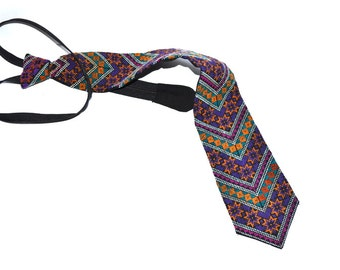 Vintage  Zipper - tie  handmade embroidered tie Valentines Fathers day gift. NOS Wedding