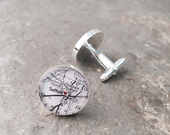 Map Cufflinks - Suffolk Virginia vintage map with red heart - mens map jewelry accessories - Groomen
