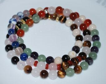 Crystal Necklace, Multi Gemstone Necklace, Multi Gemstone Necklace, Men Necklace, Unisex Necklace