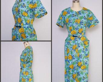 1950s Dress / Floral 50s dress / Floral shirtwaist dress / NOS 50s Dress / XL 50s Dress /  Pin Up Style