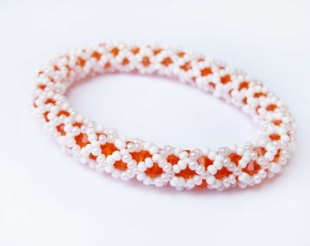 Beaded Bangle Bracelet in Orange and White