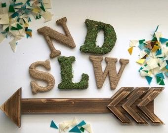 "Single 3.5"" Twine or Moss Letters - Clearance"