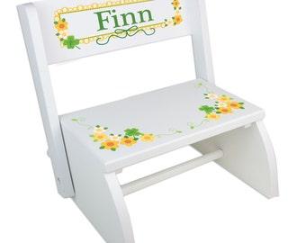 Personalized irish etsy personalized irish baby gift custom shamrock folding flip step stool st patricks day gifts childrens negle Image collections