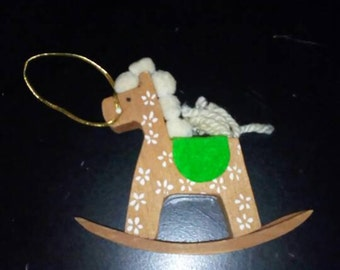 Minikins Rocking Horse Vintage Handmade Wooden Christmas Ornament