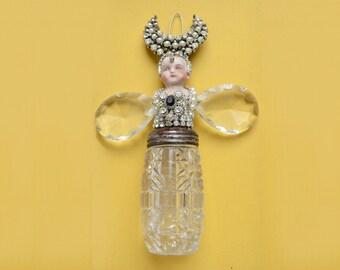 "mixed media assemblage, original art doll, altered doll, FIREFLY art, 6.5"" tall by Elizabeth Rosen"