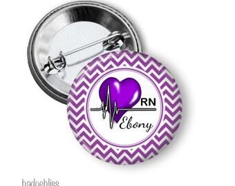 Heart Nurse pinback button badge