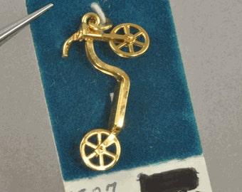 Vintage Gold Filled Charm - Scooter Charm for Bracelet - New Old Stock Charm Skateboard - Childhood Charms