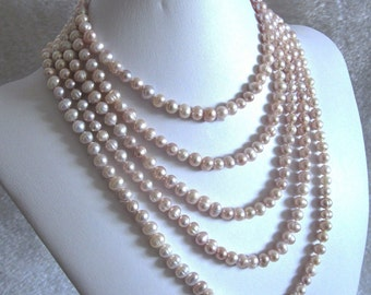 "Elegant Bridal Wedding Genuine Organic Cultured Freshwater 100"" Light Mauve Authentic Genuine Pearl Strand Burlesque Flapper Necklace"