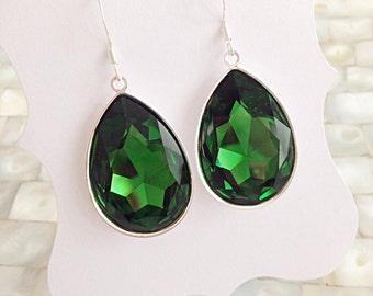 Emerald Teardrop Earrings Silver Setting Swarovski Crystal Pear Shaped Bridesmaid Earrings